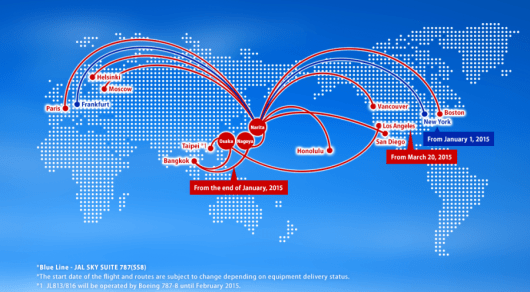 JAL's current and future 787 routes.
