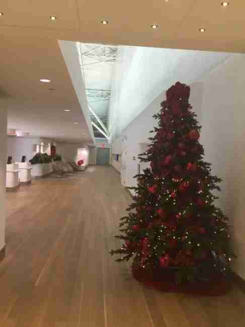 A Christmas welcome at the JFK Flagship check in