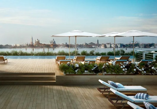 The infinity pool with views of St. Mark's at the new JW Marriott Venice.