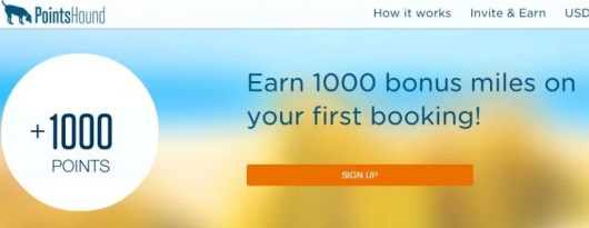Earn a 1000 point bonus for your first PointsHound booking