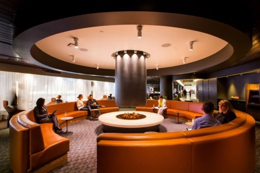"""The """"fire"""" pit in the new oneworld Business Lounge at LAX"""