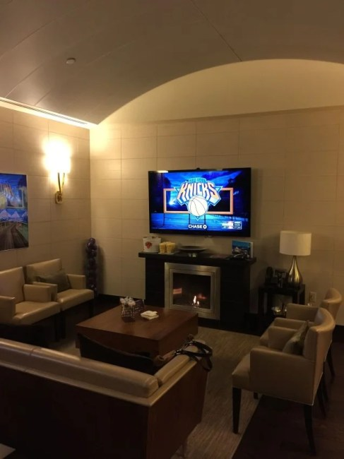 The comfy lounge in the SPG Luxury Suite at Madison Square Garden