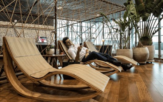 Just one of the unique seating options in the new Star Alliance lounge in Sao Paulo