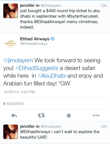 Etihad tweeted with flyers who booked these fares with suggestions of what to do in Abu Dhabi and beyond - looks like these fares are going to be honored.