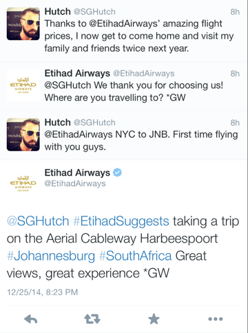 Another lucky flyer getting suggestions from Etihad - this time for Johannesburg.
