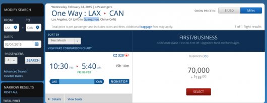 Los Angeles- Guangzhou for 4 people in Business on China Southern Airlines
