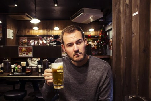 No self-respecting Tokyo local would ever be seen with a beer mustache—like mine.