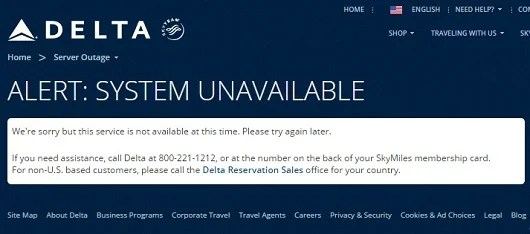 Delta's new search engine works great, when it works.