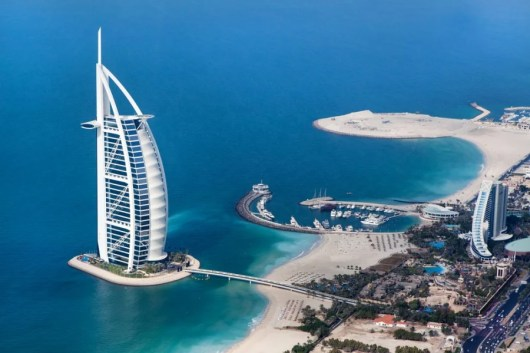 Dubai's iconic, sail-shaped and seven-star Burj al Arab.  Photo courtesy of Shutterstock.