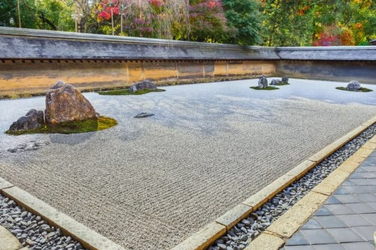 The zen rock garden at Ryoan-ji. Photo courtesy of Shutterstock.
