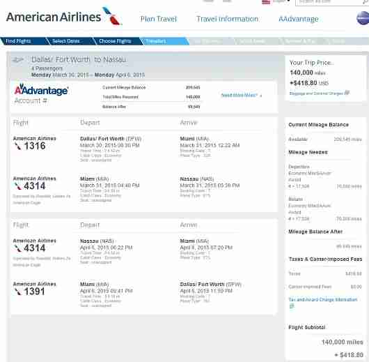 Here is an example of four saver award seats from Dallas to Nassau on American.