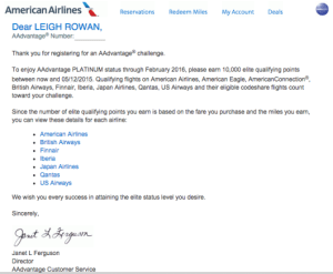 How To Challenge For Aadvantage Platinum Status