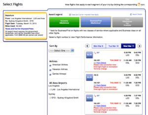 AA business flights