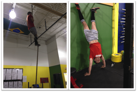 Rope climbs and handstand pushups, not exactly my favorite parts of a WOD!