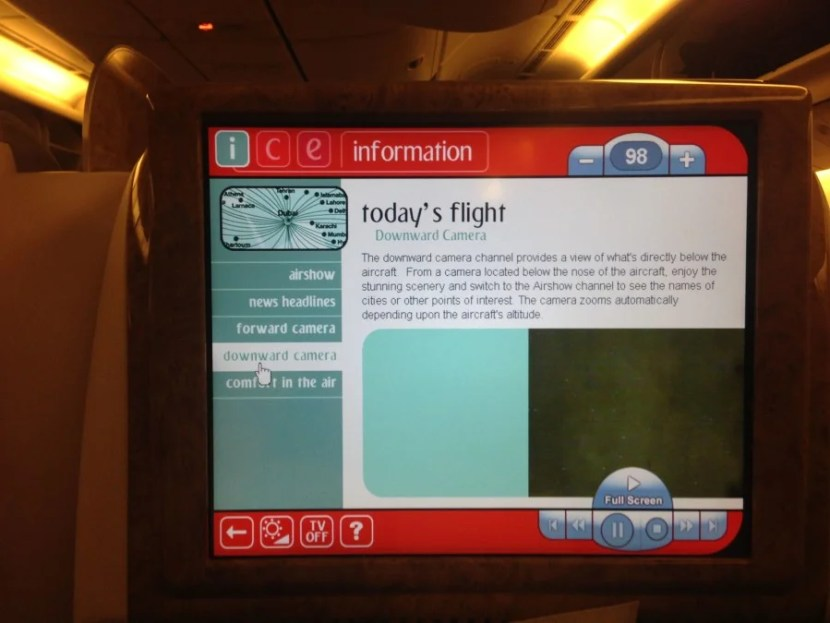 The Downward Camera channel on Emirates' in-flight entertainment system.