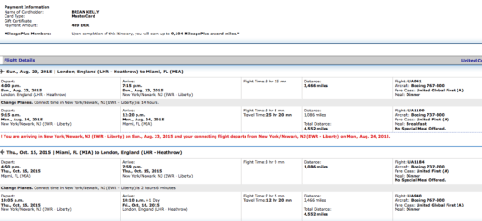 London to Miami roundtrip in business/first for 489 Kroner or $74