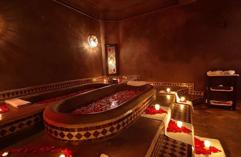 A relaxing bath filled with flowers and Moroccan scents should do the trick. Photo courtesy of Les Bains Marrakech.