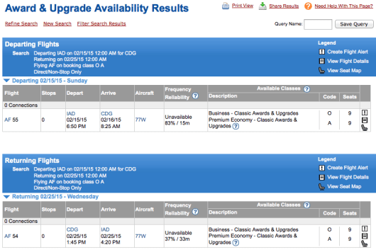 Amazingly enough, these Air France flights have 9 upgradeable seats in both premium economy and business class!