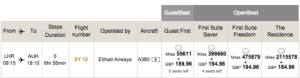 Etihad A380 LHR-AUH