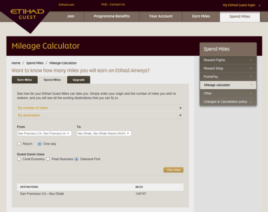 Etihad's mileage calculator shows you how many miles you need for a given city pair.