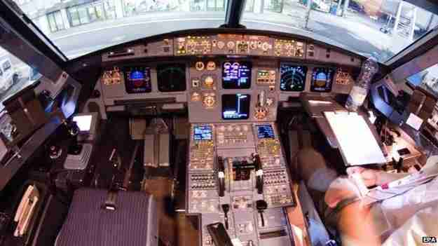 The cockpit of Germanwings Flight 4U9525, photographed a few days before its fatal crash. Photo courtesy of EPA/BBC.