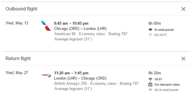 Google Flights Adds WiFi, Legroom and Amenities to Listings