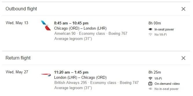 Google Flights Adds WiFi, Legroom and Amenities to Listings