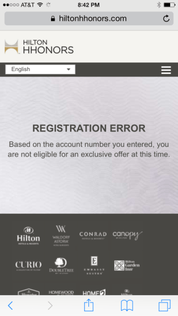 Hilton 100k error message