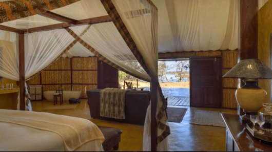 One of the luxury tents at Sausage Tree Camp in the Lower Zambezi. Photo credit: Sausage Tree Camp.