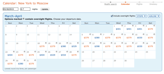 Several dates available to Moscow for $379 when searching using the ita Matrix.