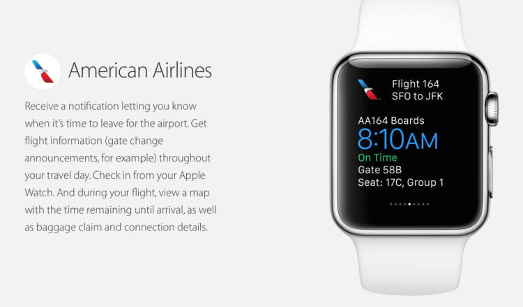 With the Apple Watch, you'll be able to see all your American Airlines flight info on your wrist.