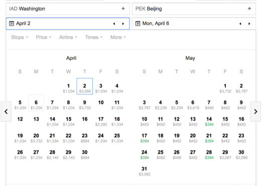 Using Google Flights, you'll see many dates are available in May.