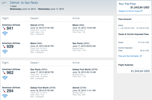 Fly from Detroit to Sao Paulo on American for $1,543 r/t in Business Class.