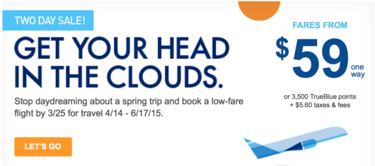 JetBlue is offering fares starting at $59 each-way.
