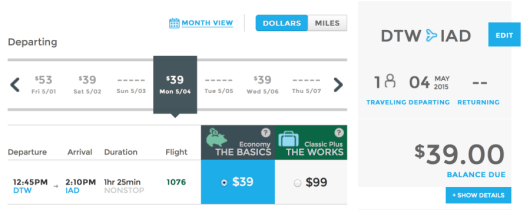 Head from Detroit to Washington-Dulles for $39 one-way.