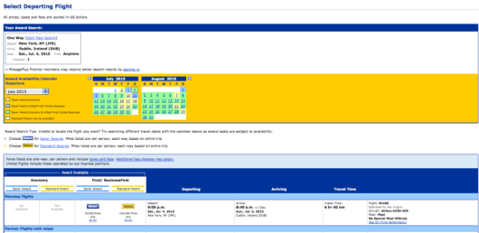 United.com will display Aer Lingus award availability...and all United