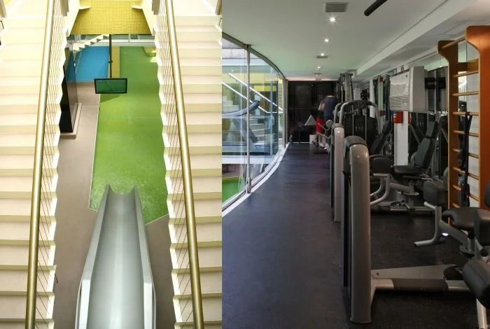 "You can literally ""slide"" into the fitness center. Photo courtesy of Hotel Unique."