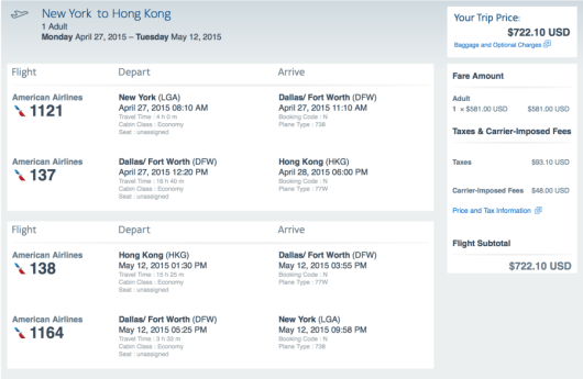 New York to Hong Kong for $722.10 round-trip on American