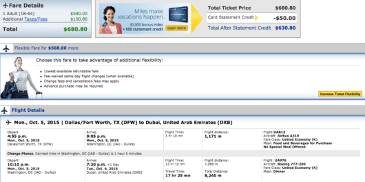 Dallas-Dubai booking through United.