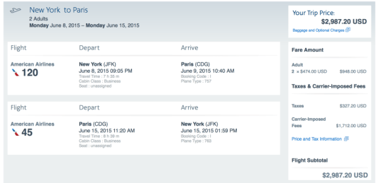 New York- Paris on American Airlines in Business Class for $2,987 for 2 people.