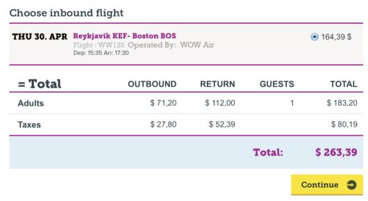 Round-trip from Boston-Reykjavik for $263.
