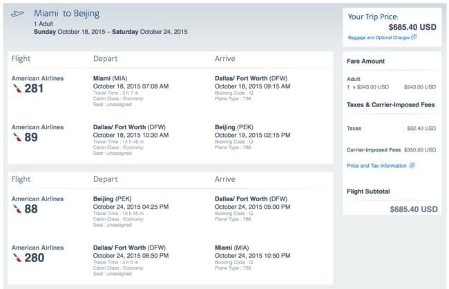 Miami to Beijing for $685 round-trip,