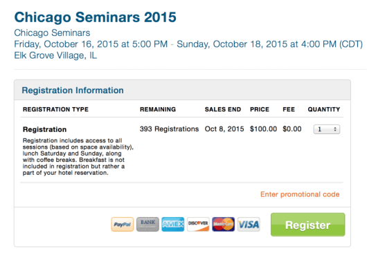 Tickets are now on sale for the Chicago Seminars.