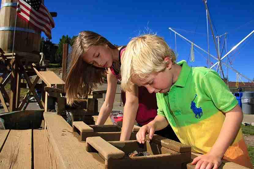 Panning for gemstones at Breck