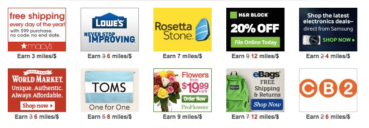 A few of the bonus miles offers available via the AAdvantage eShopping portal