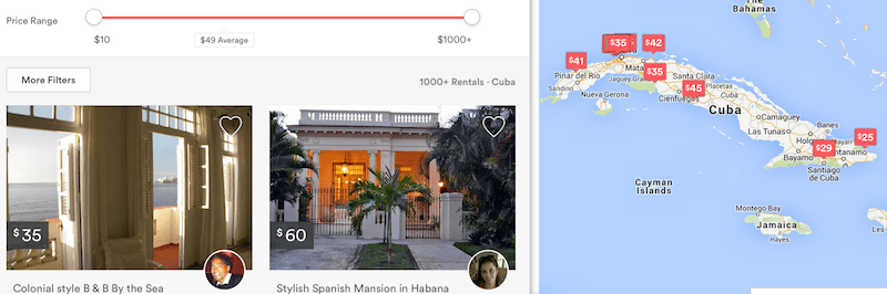 There are now about 2,000 Airbnb properties in Cuba.