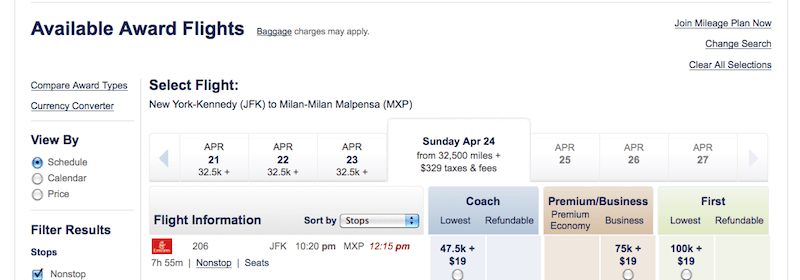 Search on Alaska's site for Emirates first class awards like this one from JFK-MXP.