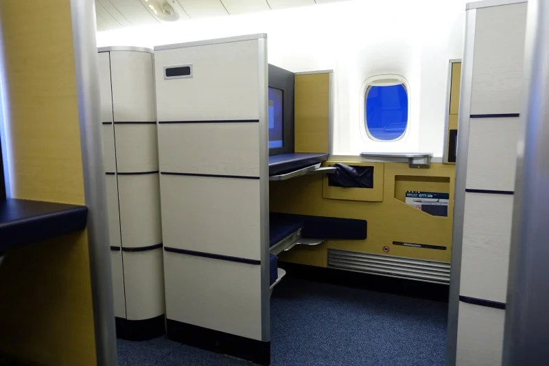 A first-class window seat on ANA's 777-300ER.