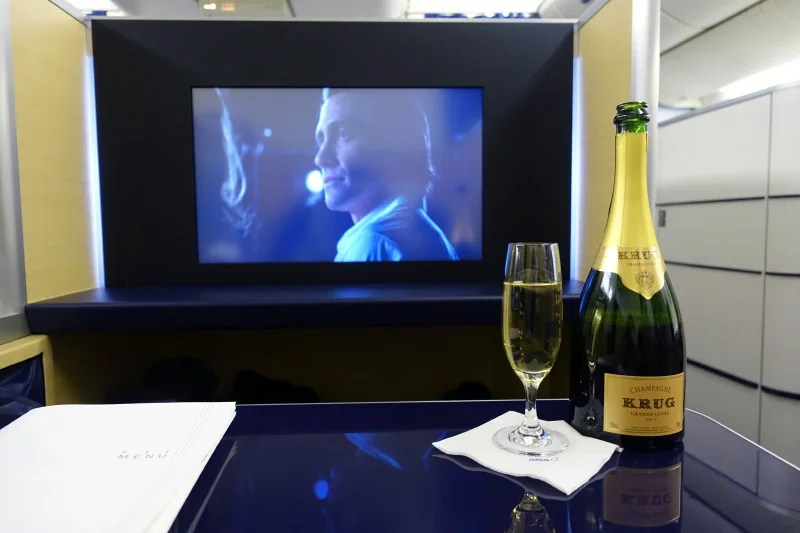 Krug Champagne in ANA first class.