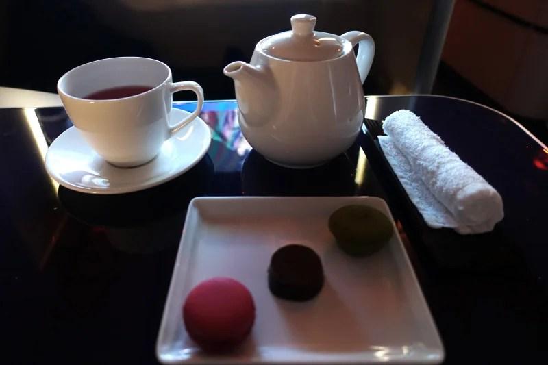Tea time in ANA first class.